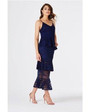 Born Tiered Ruffle Midi Dress size: 12 UK, colour: Navy