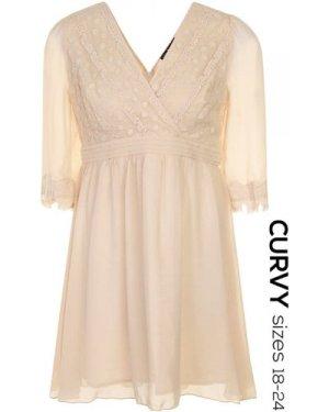 Little Mistress Curvy Cream Floral Applique Long Sleeve Dress  size: 2