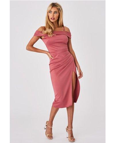 Little Mistress x Amy Neville Rose Pink Bardot Midi Dress size: 6 UK,
