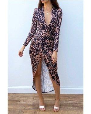 Divine Animal Print Maxi Wrap Dress  size: 8 UK, colour: Multi