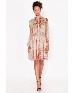 Floral Smock Tired Shirt Dress  size: L, colour: Multi