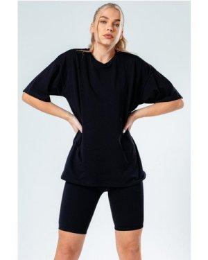 HYPE BLACK OVERSIZED T-SHIRT & CYCLE SHORTS WOMEN'S SET size: