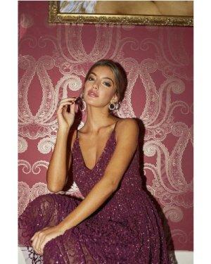 Little Mistress Michaela Plum Sequin Midi Dress size: 14 UK, colour: P