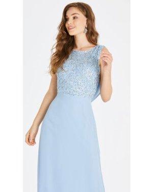 Little Mistress Irena Blue Hand-Embellished Sequin Cowl Back Maxi Dres