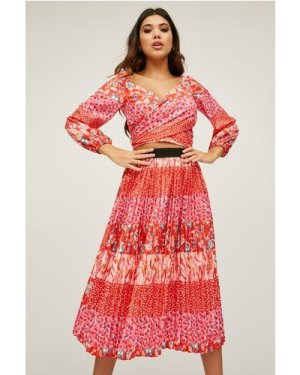 Little Mistress Xavier Red Mixed-Print Pleated Midi Skirt Co-ord size: