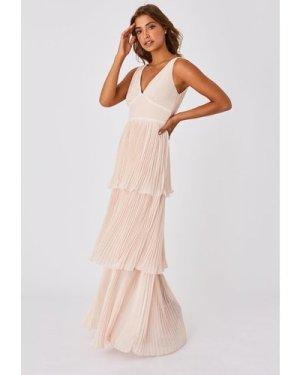 Little Mistress Mariska Bridesmaid Nude Tiered Hem Maxi Dress size: 16
