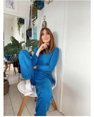 Little Mistress Blue Jogger Loungewear Co-ord size: M/L, colour: Blue