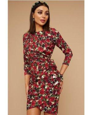 Little Mistress Wren Rose-Print Long sleeve Mini Dress size: 8 UK, col