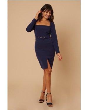 Little Mistress Joey Navy Square-Neck Belted Bodycon Dress size: 10 UK