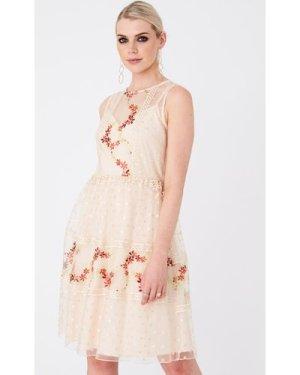 Little Mistress Hana Nude Floral-Embroidered Skater Dress size: 16 UK,