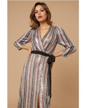 Little Mistress Kadence Sequin Stripe Wrap Maxi Dress size: 8 UK, colo