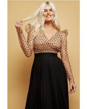Little Mistress Monroe Spot Mesh Pleated Midaxi Dress size: 8 UK, colo