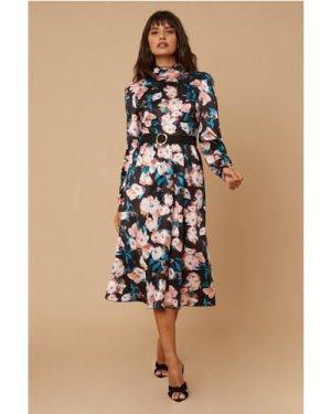 Little Mistress Remi Satin Floral-Printed Belted Midi Dress size: 8 UK
