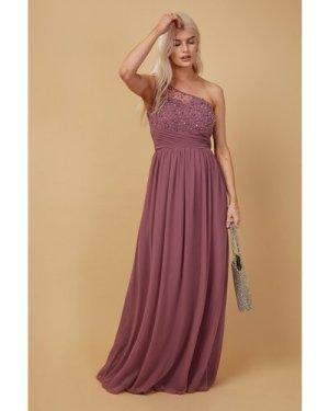 Little Mistress Bridesmaid Luanna Mauve Embellished One-Shoulder Maxi