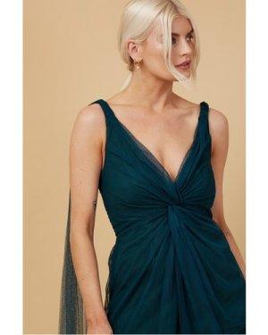 Little Mistress Bridesmaid Eden Dark Green Knot-Front Maxi Dress size:
