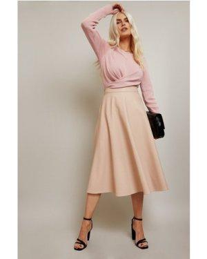 Little Mistress Raisa Beige PU Skater Midi Skirt size: 12 UK, colour: