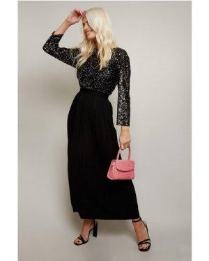 Little Mistress Alina Black Sequin Pleated Midaxi Dress size: 12 UK, c