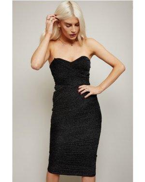 Little Mistress Inessa Black Glitter Mesh Bandeau Midi Dress size: 14