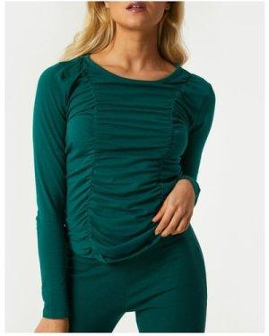 Little Mistress Ayden Emerald Green Long Sleeve Top size: 14 UK, colou