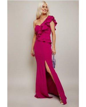 Little Mistress Marika Pink One-Shoulder Frill Maxi Dress size: 10 UK,