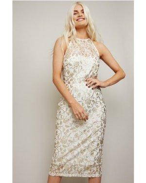 Little Mistress Ceres White Lace Gold Foil Bodycon Midi Dress size: 8