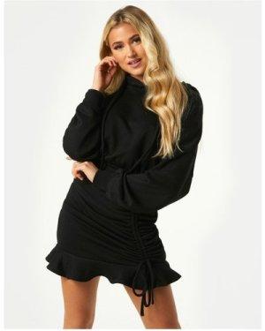 Little Mistress Sohan Black Ruched Hoodie Sweatshirt Dress size: 16 UK