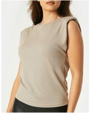 Little Mistress Vivi Grey Padded Shoulder T-Shirt size: 10 UK, colour:
