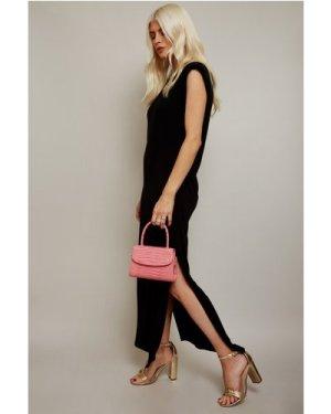 Little Mistress Vivi Black Padded Shoulder Midi Dress size: 6 UK, colo