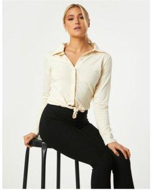 Little Mistress Amaury Sand Tie-Front Shirt size: 6 UK, colour: Sand