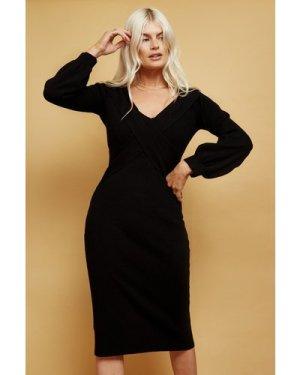 Little Mistress Philosophy Black Bardot Knit Mini Dress size: 8 UK, co