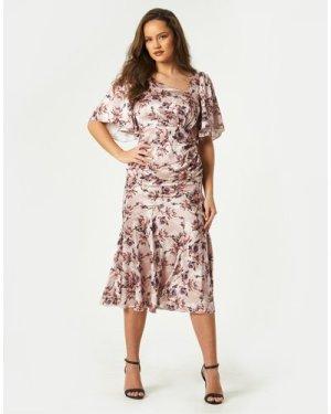 Little Mistress Elon Mink Floral-Print Satin Asymmetric Midaxi Dress s
