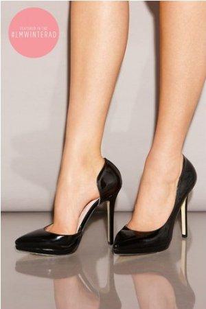 Little Mistress Black Patent Open Side Court Shoes size: Footwear 4 UK