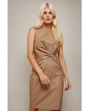 Little Mistress Luiza Tan PU Twist Detail Mini Dress size: 12 UK, colo