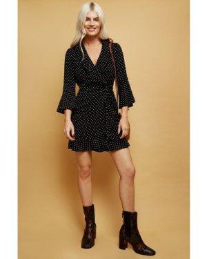 Little Mistress Sublime Black Spot-Print Frill Mini Wrap Dress size: 1