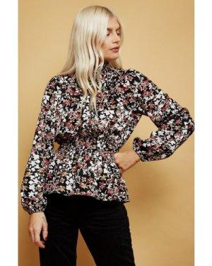 Little Mistress Medley Floral-Print Shirred Blouse size: 16 UK, colour