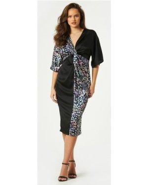 Little Mistress Zaire Leopard-Print Satin Midi Dress size: 6 UK, colou