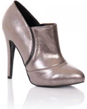 Little Mistress Pewter Stiletto Heel Ankle Boots size: Footwear 8 UK,