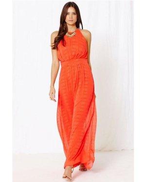 Little Mistress Papaya Textured Chiffon Embellished Maxi Dress size: 1