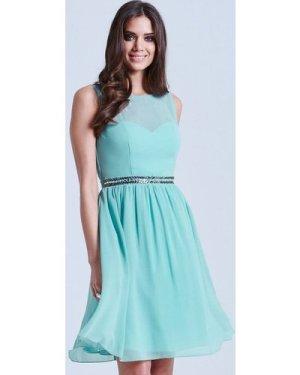 Little Mistress Sage Mesh Insert Embellished Dress size: 14 UK, colour