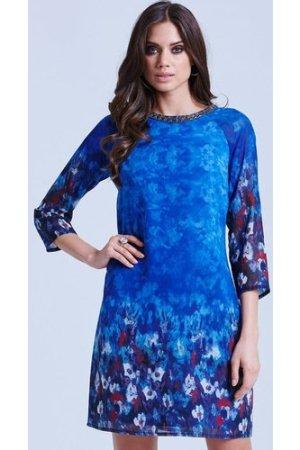Little Mistress Blue Water Paint Floral Tunic Dress size: 8 UK, colour