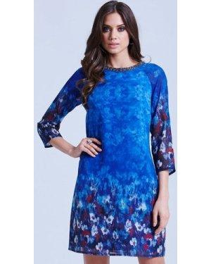 Little Mistress Blue Water Paint Floral Tunic Dress size: 14 UK, colou