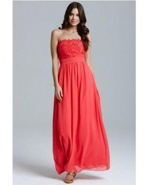 Little Mistress Coral Lace Bust Strapless Dress size: 18 UK, colour: C