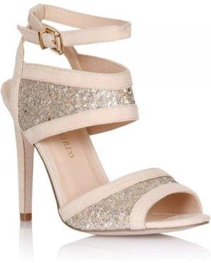 Little Mistress Nude Glitter Insert Peep Toe Heels size: Footwear 8 UK