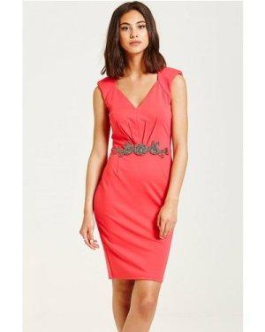 Little Mistress Hot Coral Embellished Waist V Neck Bodycon Dress size:
