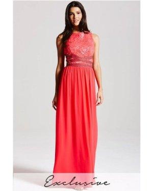 Little Mistress Coral lace embellished maxi dress  size: 8 UK, colour: