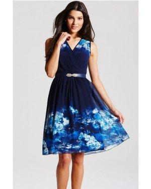 Little Mistress Blue Floral Crossover Dress size: 10 UK, colour: Print