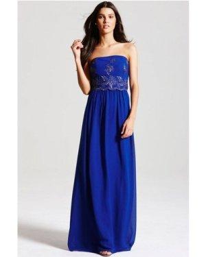 Little Mistress Cobalt Blue Embroidered Maxi Dress size: 16 UK, colour