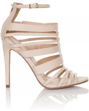Little Mistress Nude Multi Strap peep toe heel size: Footwear 4 UK, co