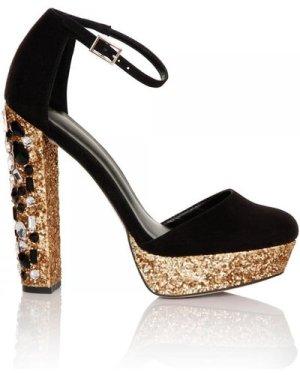 Little Mistress Black and Gold Mary Jane Glitter Platform size: Footwe