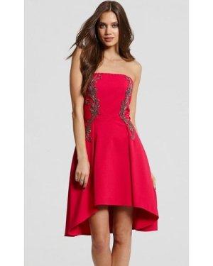 Little Mistress Pink Embellished Prom Dress size: 16 UK, colour: Pink